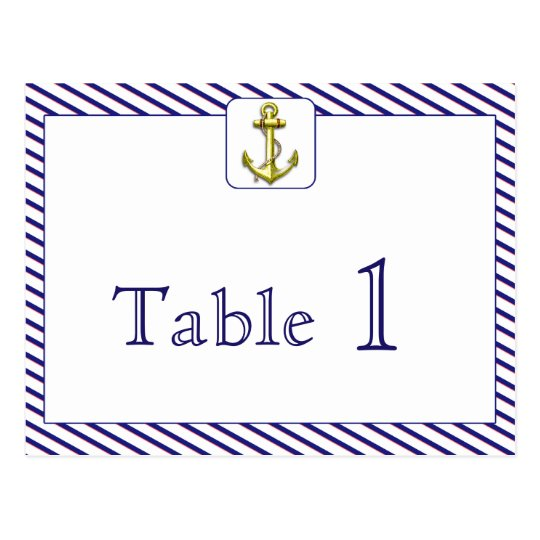 Nautical Anchor Blue Stripe Wedding Table Number Postcard