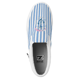 Nautical Anchor, blue stripes, cool Slip-On Sneakers