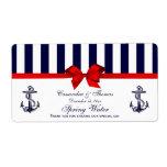 Nautical Anchor Blue White Stripe H Water Label