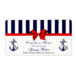 Nautical Anchor Blue White Stripe H Water Label Shipping Label