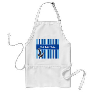 Nautical Anchor; Blue & White Stripes Adult Apron
