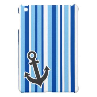 Nautical Anchor; Blue & White Stripes iPad Mini Covers
