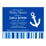 Nautical Anchor; Blue & White Stripes Postcard
