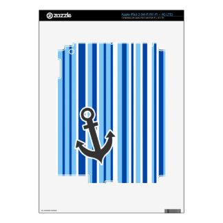 Nautical Anchor; Blue & White Stripes Skin For iPad 3