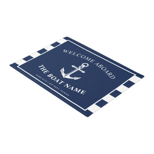 Nautical Anchor Boat  Captain Name Navy Stripes Doormat
