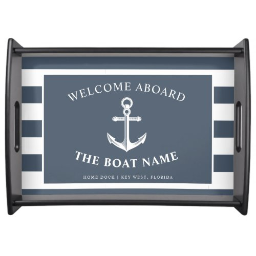 Nautical Anchor Boat  Captain Name Slate  White Serving Tray