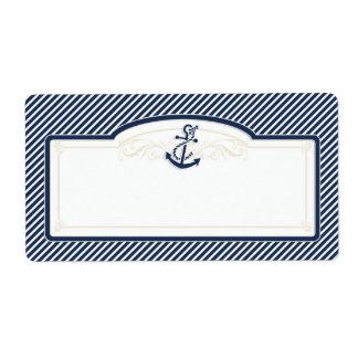 Nautical Anchor Boat Diagonal Stripes Swirl Modern Shipping Labels
