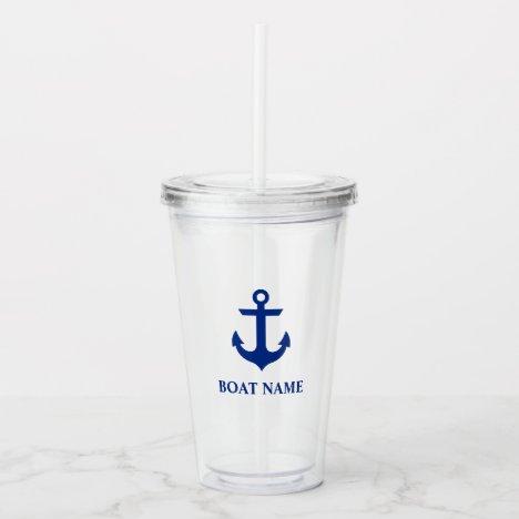 Nautical Anchor Boat Name Acrylic Tumbler