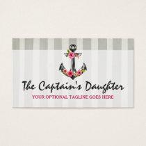 Nautical Anchor Bohemian Floral Beach Chic Style Business Card