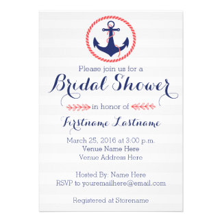 Nautical Anchor Bridal Shower Announcements