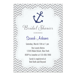 Nautical Anchor Bridal Shower Invitation