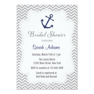 Beach Themed Nautical Anchor Bridal Shower Invitation
