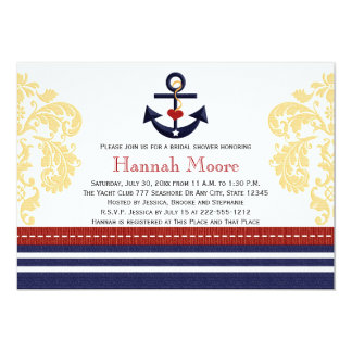 "Nautical Anchor Bridal Shower Invitations 5"" X 7"" Invitation Card"