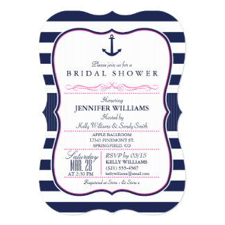 Nautical Anchor Bridal Shower; Navy & Pink Card