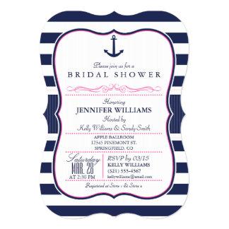 Nautical Anchor Bridal Shower; Navy & Pink 5x7 Paper Invitation Card
