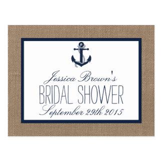 Nautical Anchor Burlap Bridal Shower Recipe Cards
