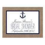 Nautical Anchor Burlap Bridal Shower Recipe Cards Postcard