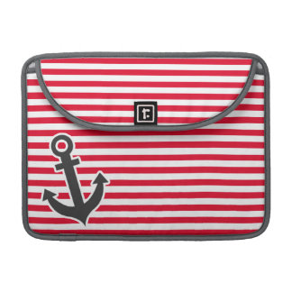 Nautical Anchor; Cadmium Red Stripes; Striped Sleeve For MacBooks
