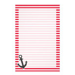 Nautical Anchor; Cadmium Red Stripes; Striped Stationery Paper