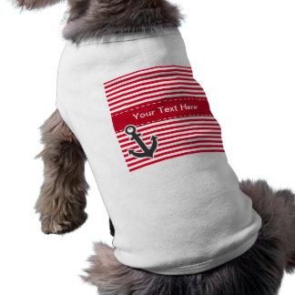 Nautical Anchor; Cadmium Red Stripes; Striped T-Shirt