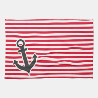 Nautical Anchor; Cadmium Red Stripes; Striped Towel