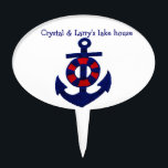 """Nautical Anchor Cake Topper<br><div class=""""desc"""">A fun personalized nautical design cake topper. Red,  white,  and blue art with an anchor and a buoy.  Easy to personalize with the text template. Perfect for sailing and boating enthusiasts or a lake / beach house.</div>"""