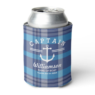Nautical Anchor Captain and Boat Custom Name Plaid Can Cooler