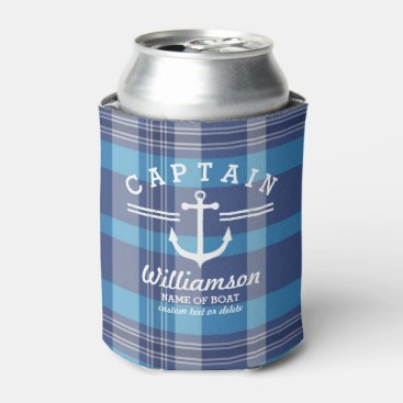 colorfulgalshop Nautical Anchor Captain and Boat Custom Name Plaid Can Cooler