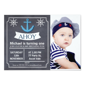 Nautical Anchor Chalkboard Birthday Invitation