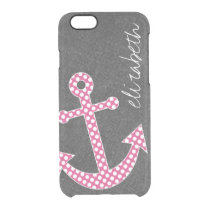 Nautical Anchor Chalkboard Hot Pink Polka Dots Clear iPhone 6/6S Case