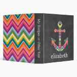Nautical Anchor Chalkboard with Bright Chevrons 3 Ring Binders