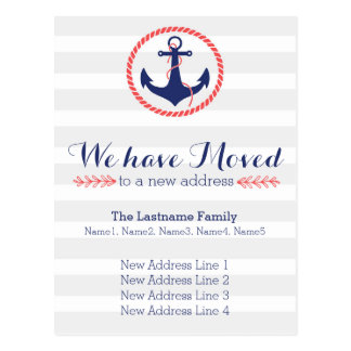 Nautical Anchor Change of Address Postcard
