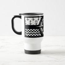 Nautical Anchor Chevron and Compass Pattern Travel Mug