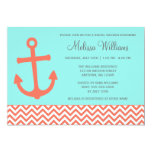 Nautical Anchor Chevron Aqua Coral Bridal Shower Invitations