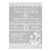 Nautical Anchor Chevron Beach Wedding Card
