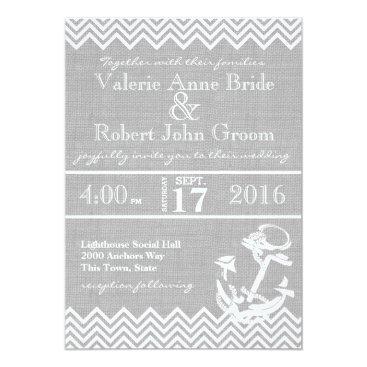 Beach Themed Nautical Anchor Chevron Beach Wedding Card