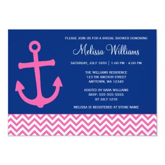 Nautical Anchor Chevron Blue Pink Bridal Shower 5x7 Paper Invitation Card