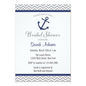 Beach Themed Nautical Anchor Chevron Bridal Shower Invitation