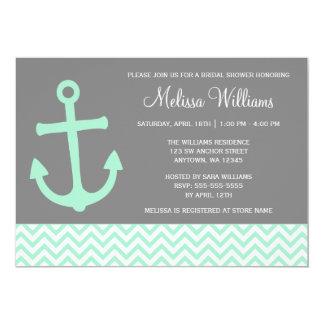 Nautical Anchor Chevron Mint Gray Bridal Shower Card