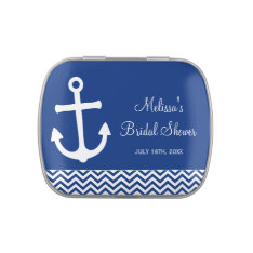 Nautical Anchor Chevron Navy Blue Bridal Shower Jelly Belly Tins at Zazzle