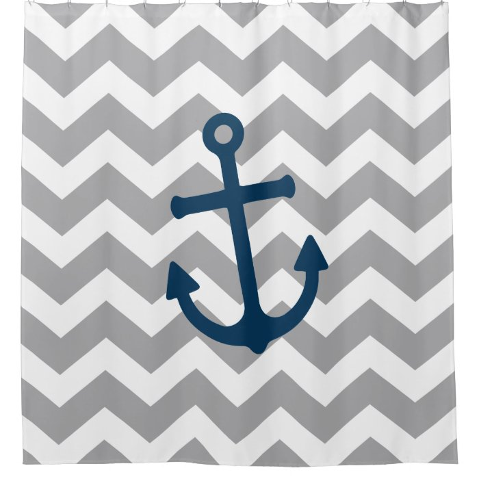 Nautical Anchor Chevron Navy Blue Gray Shower Curtain