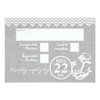 Nautical Anchor Chevron Wedding RSVP Card