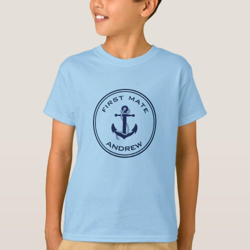Nautical Anchor _ Childs Name T_Shirt _First Mate