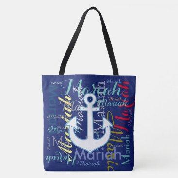 Beach Themed nautical anchor & colorful names tote bag