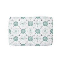 Nautical Anchor Compass sea green white ocean Bathroom Mat