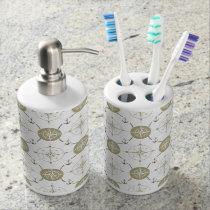 Nautical Anchor Compass taupe white black ocean Soap Dispenser & Toothbrush Holder