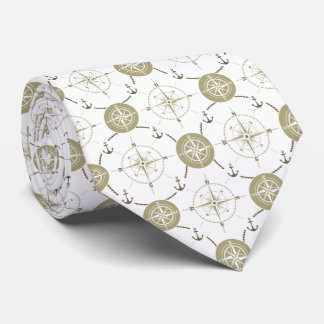 Nautical Anchor Compass taupe white brown ocean Tie