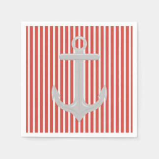 Nautical Anchor Contrast Pattern Paper Napkin Standard Cocktail Napkin