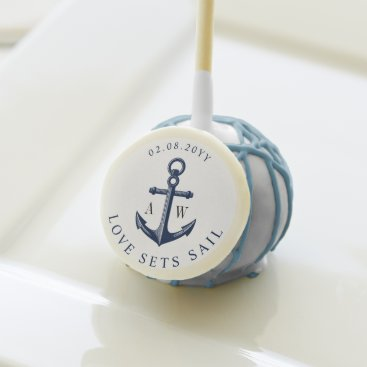 Beach Themed Nautical Anchor Custom Monograms Cake Pops