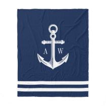 Nautical Anchor Custom Monograms Navy Fleece Blanket